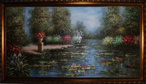 """Huge Oil Painting Lotus and Tree 78"""" x 42"""" x 2"""""""