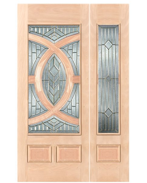 "Exterior Entry Wood Slab Door No Paint #M680-H96"" 1d + 1s"