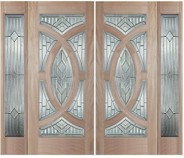 "Exterior Entry Wood Slab Door No Paint #M705-H80"" 2d + 2s"