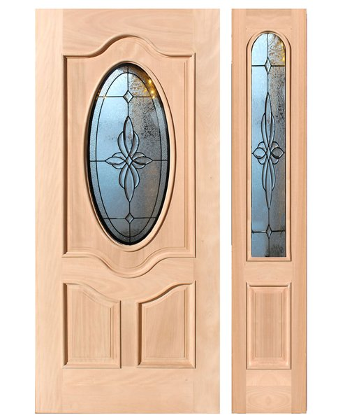 "Exterior Entry Wood Slab Door No Paint #M800-H96"" 1d + 1s"