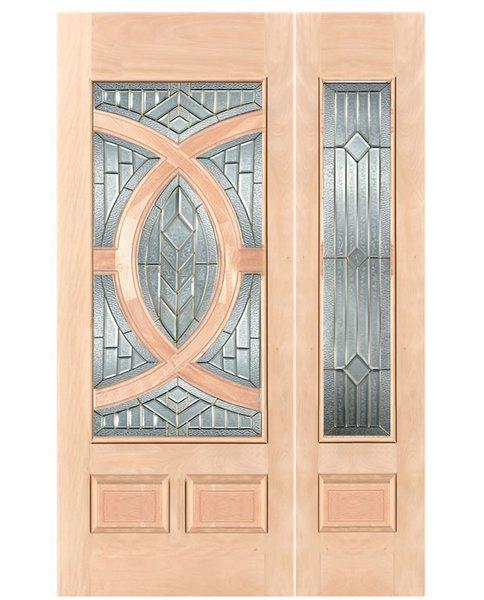 "Exterior Entry Wood Slab Door No Paint #M680-H80"" 1d + 1s"