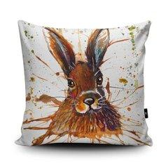 Splatter hare soft vegan faux suede cushion