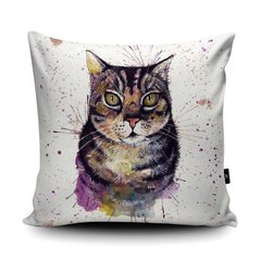 Splatter cat soft vegan faux suede cushion by British artist