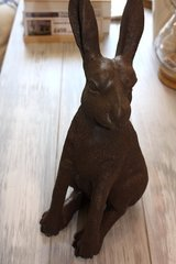 Brown cast resin hare.