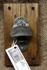 Cast iron Notting Hill bottle opener on oak