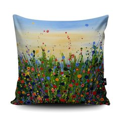 Enchanted Summer soft vegan faux suede cushion