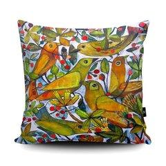 Yellow bird soft vegan faux suede cushion
