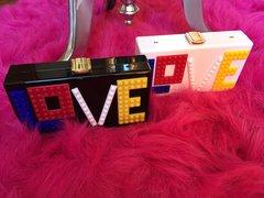 """LOVE"" Lego Box Clutch"