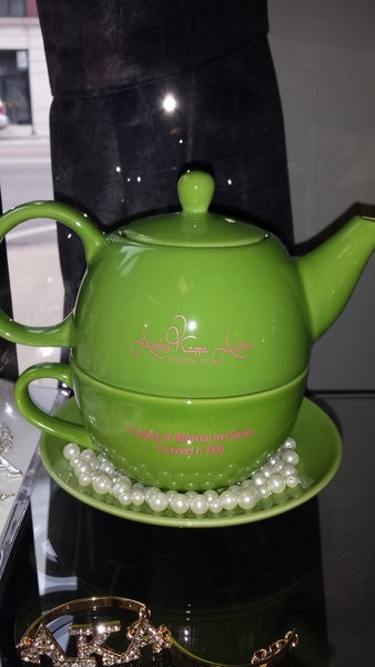 Alpha Kappa Alpha Green Tea Pot Sorority Greek Apparel