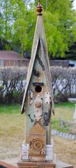 Larger Church Birdhouse With Eastlake Backplate And Doorknob