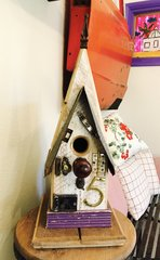 Medium Folk Art Birdhouse Purple Trim