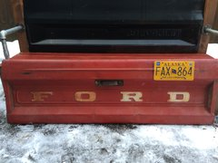 Rusty Red Ford Tailgate Bench