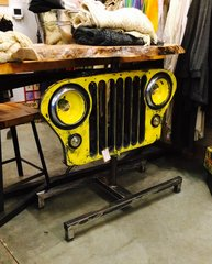 Vintage Willys Lighted Grill With Maple Live Edge Top