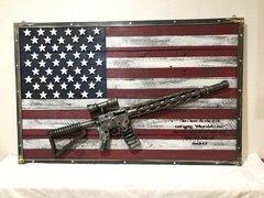 Full Size USA Flag With Custom AR-15 Sculpture