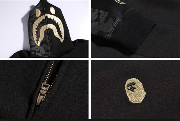 LIMITED EDITION! Black&Gold Bape Hood