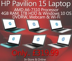 HP Pavilion 15 Laptop - Teal, Silver & White Colours