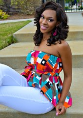 African Fabric Flare Tube Top
