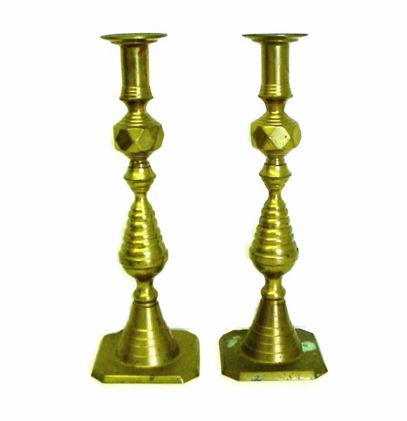 """Pair Of 12"""" Tall Brass Antique Classic Beehive"""