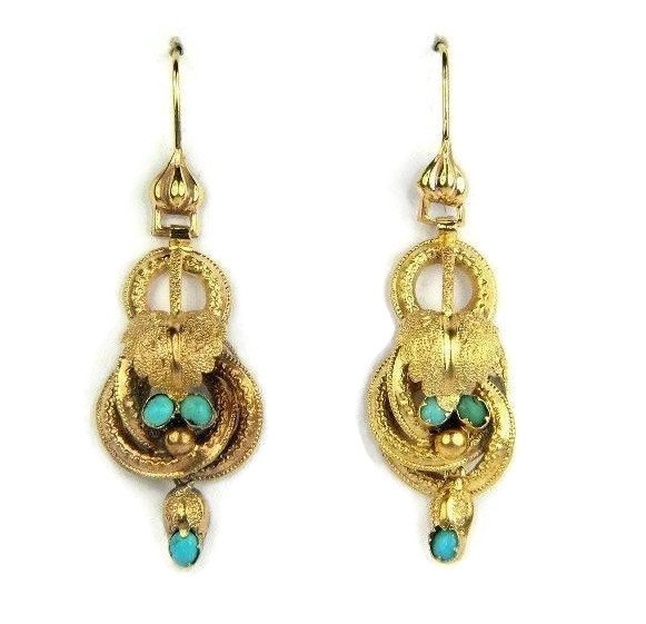 15K Gold Etruscan Revival Dangle Drop Earrings with Turquoise