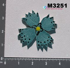 Blue / Teal Flower Small  Handmade Mosaic Tiles for your Projects M3251