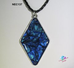 Wispy Blue Diamond Handmade Stained Glass Mosaic Necklace under resin NEC137