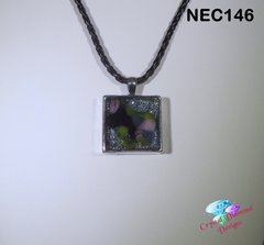 Wispy Square Stan Glass and Glitter under Resin Handmade Necklace NEC146