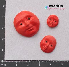 3 Red Faces Handmade Mosaic Ceramic Tiles M3105