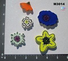 5 Assorted Flowers Handmade Mosaic Ceramic Tiles M3014