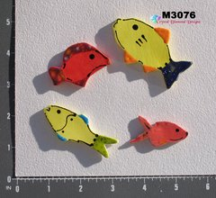 4 Assorted Fish Handmade Mosaic Ceramic Tiles M3076