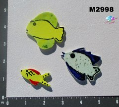 3 Assorted Fish Handmade Mosaic Ceramic Tiles  for your Projects M2998