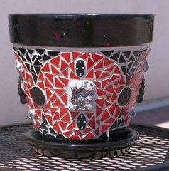 SKULLS & CROSS BONES - HANDMADE MOSAIC FLOWER POT Look great in your Home F236
