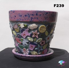 FLOWERING MOSAIC FLOWER POT - all HANDMADE TILES Look great in your Home F239