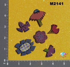 5 Assorted Flowers Handmade Mosaic Tiles M2141