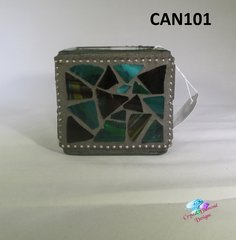 Teal Mosaic Candle Holder Handmade with Stain Glass CAN101