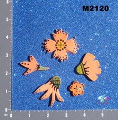 5 Peach Flowers Handmade Mosaic Tiles M2120