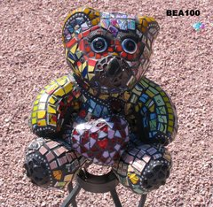Mosaic Teddy Bear made of Jewelry, Tiles, China  Handmade by Artist BEA100