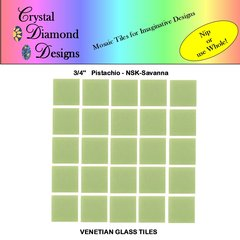 "50 - 3/4"" Venetian Pistachio Savanna Green Glass Mosaic Tiles for your Project POSSA"