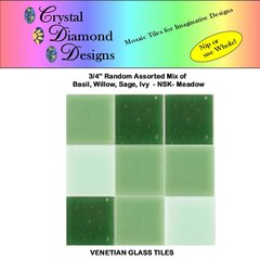 "50 - 3/4"" Venetian Green Meadow  Glass Mosaic Tiles for your Project AMOME"
