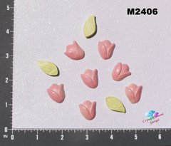 7 Tulips Flowers and Leaves  Handmade Mosaic Tiles M2406