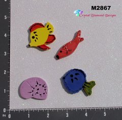 3 Assorted Fish and a Shell Handmade Mosaic Ceramic Tiles M2867