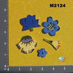5 Assorted Flowers Handmade Mosaic Tiles M2124
