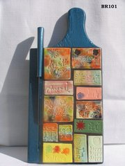 Words- Recycled Bread made into a Mosaic Piece of Art use as a Trivet BR101