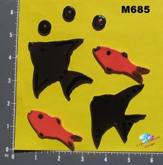 Red and Black Fish Handmade Mosaic Tiles M685
