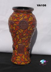 Vase, Copper ,Orange and Gold Glass Mosaic Vase,Handmade by the Artist VA106