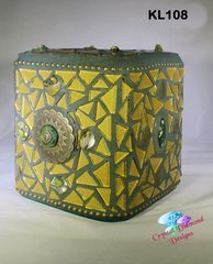 Gold and Green Glass Tissue Box Cover Handmade Mosaic Cover for your Home KL108