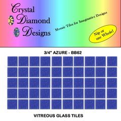 "50 - 3/4""  Azure Blue Vitreous Glass Mosaic Tiles for your Mosaic Projects BB62"