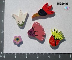 5 Assorted Flowers Handmade Mosaic Ceramic Tiles M3016