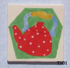 "3"" x 3""  Tea Pot Tile - Handmade ceramic Mosaic Tile For your Projects T101"