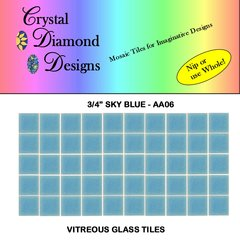 "50 - 3/4"" Sky Blue Vitreous Glass Mosaic Tiles for your Mosaic Projects AA06"