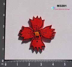 Red Flower Large  Handmade Mosaic Tiles for your Projects M3281